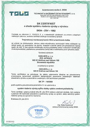 SK certifikát o zhode systému riadenia výroby u výrobcu